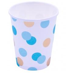 Pahare carton Blue & Gold Dots pentru petrecere - 250 ml, Qualatex 15932, set 8 buc