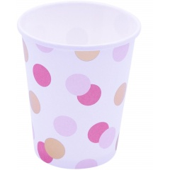 8 Cups Pink & Gold Dots - 250 ml, Qualatex 15929