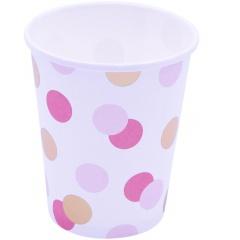 Pahare carton Pink & Gold Dots pentru petrecere - 250 ml, Qualatex 15929, set 8 buc