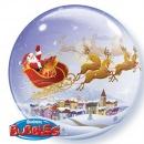 "Santa in Sleigh Christmas Bubble Balloon - 22""/56cm, Qualatex 26979, 1 piece"