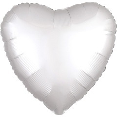 "18"" Satin Luxe White Heart Foil Balloon, Amscan 38590"