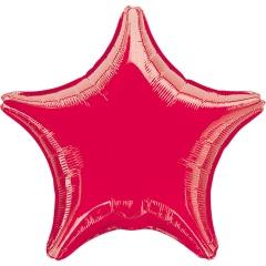 Metallic Red Star Foil Balloon - 45 cm, A 30584, 1 piece