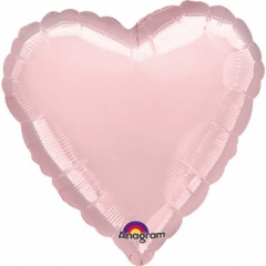 "18"" Pearl Pastel Pink Heart Foil Balloon, A 80043"