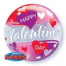 """Balon Bubble 22""""/56 cm, Red and Pink Hearts, Q 27404"""