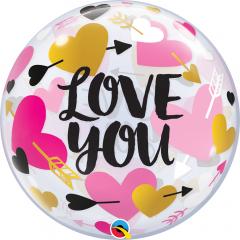 Balon Bubble 22''/56 cm Love You Hearts & Arrows, Q 78457