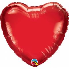 Balon folie inima rosie, 23 cm, umflat + bat si rozeta Qualatex 23355