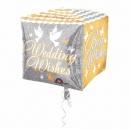 Balon Folie Cubez Shimmering Wedding Wishes - 38x 38 cm, Amscan 28779