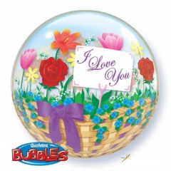Balon Bubble 22''/56 cm I Love You Flower Basket, Q 81074