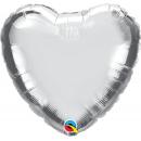 "Balon mini figurina inima Silver 9""/23 cm umflat + bat si rozeta, Q 22464"