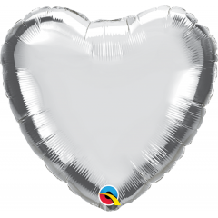 "Balon mini folie inima argintiu 4""/10 cm umflat + bat si rozeta, Q 23483"
