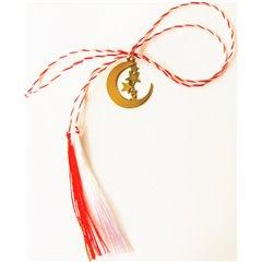 Martisor handmade placat cu aur 14K, semiluna 1,8 cm