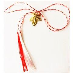 Martisor handmade placat cu aur 14K, frunza de castan, 1,6 cm