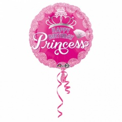 """Princess Crown & Gem HBD"" Foil Balloon Round, 45 cm, Amscan 34805"