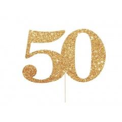Decoratiune tort 50 auriu cu sclipici - 13 x 15 cm, Radar 51033