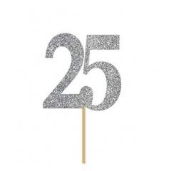 Decoratiune tort 25 argintiu cu sclipici - 13 x 15 cm, Radar 51032