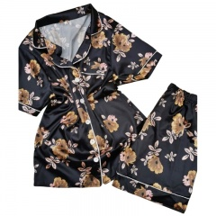 Pijama satinata bumbac - flori, marimi S-L, Radar 016