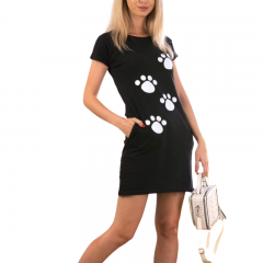 Cotton Short Dress - Paws, Radar 026