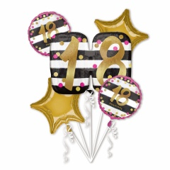 Buchet baloane folie 18 ani- pink, Radar 38122, set 5 buc
