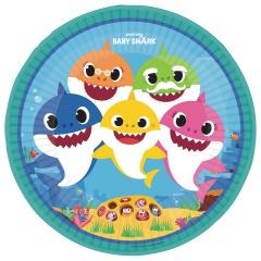 8 Plates Baby Shark round 22,8 cm, Radar 9909039