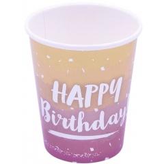 Pahare carton Rose Gold Ombre pentru petrecere - Happy Birthday, Qualatex 15927, set 8 buc