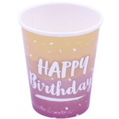 Rose Gold Ombré Paper Cups Happy Birthday, Qualatex 15927, 8 pieces
