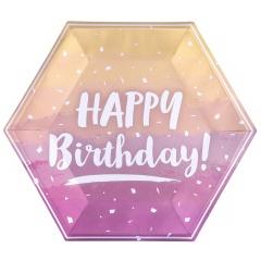 Farfurii carton Rose Gold Ombre pentru petrecere - Happy Birthday, 23 cm, Qualatex 15916, set 8 buc