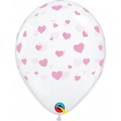 Diamond Clear Rose Hearts Latex Balloon, 11 inch (28 cm), Qualatex 18100