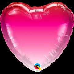 Folie 45 cm inima - Pink Ombre, Qualatex 16761, 1 buc