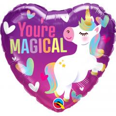 Folie 45 cm inima - You're Magical Unicorn, Qualatex 16757, 1 buc