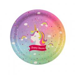 Farfurii carton Happy Birthday Unicorn - 18 cm, Radar 64031, set 8 buc
