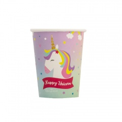 Pahare carton Happy Birthday Unicorn pentru petrecere - 250 ml, Radar 64032, set 8 buc
