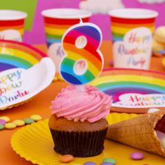 Lumanari aniversare Rainbow pentru tort - 0-9, cca. 9.5 cm, Radar, 1 buc