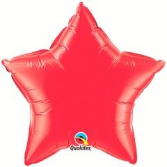 "Metallic Ruby Red Star Foil Balloon - 20""/50cm, Qualatex 12626, 1 piece"