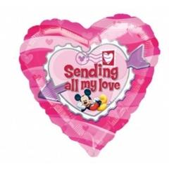 "Balon Folie Figurina Mickey ""Sending All My love"" - 61x137 cm, Amscan 10468"