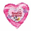 "Mickey ""Sending All My Love"" Drop A Line Shape Foil Balloon - 61x137 cm, Amscan 10468"