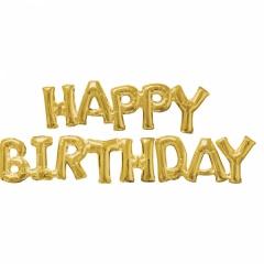 Pachet baloane medii folie Happy Birthday - auriu, Amscan 36099