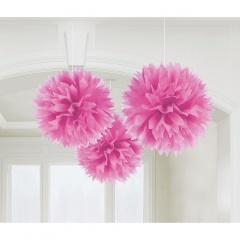 Decoratiuni pompoane roz de agatat - 40.6 cm, Amscan 18055.103.55, set 3 bucati