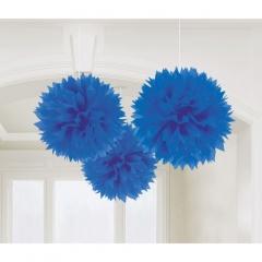 Decoratiuni pompoane albastru regal de agatat - 40.6 cm, Amscan 8055.105.55, set 3 bucati