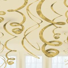 Serpentine decorative Aurii - 55.8 cm, Amscan 67055.19.55, Set 12 buc