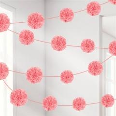 Ghirlanda pompoane hartie roz - 13.9 x 365 cm, Radar 225555.109, set 2 buc