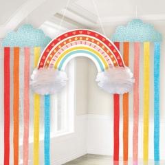 Kit decor de agatat hartie- Retro Rainbow, Amscan 290169, set 3 buc