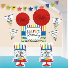 Kit decor de agatat hartie/folie - Happy Birthday, Amscan 241249, set 10 buc